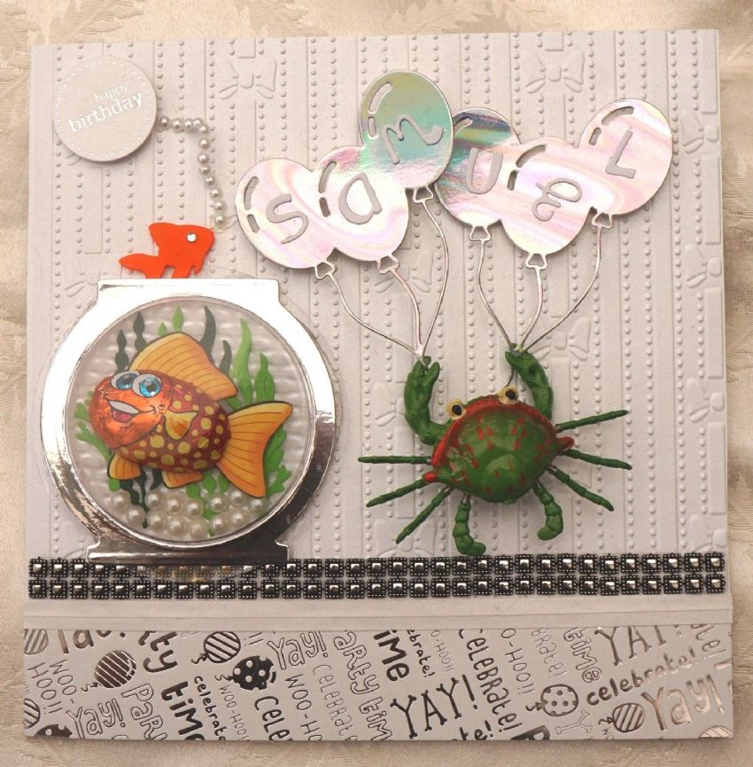 CHILDRENS PERSONALISED BIRTHDAY CARD WITH CHOCOLATE FISH & 3D MAGNETIC CRAB